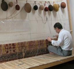 hand knotted rug weaver and loom